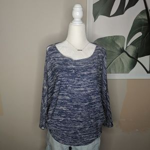 Anthro Postmark Blue Heather Butterfly Sleeves Top
